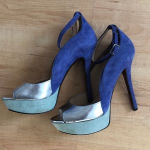 Enzo Angiolini platform pumps royal blue